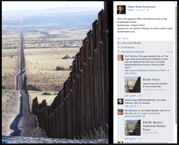 Robert Rosie Rosenkranz' Facebook post, in which he falsely claims that a photograph of the wall along the United States / Mexico border in Arizona is actually a wall that Mexico built on its border with Guatemala.